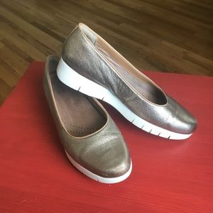 Gold Metallic Leather Loafers